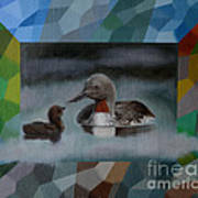 A Red-throated Diver And The Chick Art Print