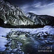 A River Flowing Through The Snowy Art Print