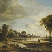 A River Landscape With Figures And Cattle Art Print