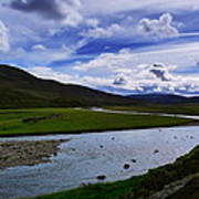 A River Splits The Landscape Art Print