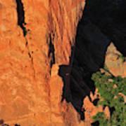 A Rock Climber In A Blue Shirt Climbing Art Print