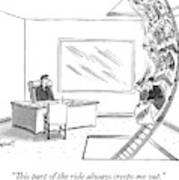 A Rollercoaster Passes Through A Ceo's Office Art Print