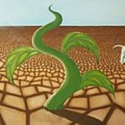 A Root In Dry Ground-desert Painting With Cow Skull And Green Plant Art Print