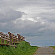 A Row Of Benches In Gloucester Ma Art Print