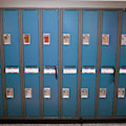 A Row Of Lockers In A School Hallway Art Print