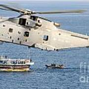A Royal Navy Merlin Helicopter  Art Print