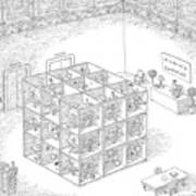 A Rubik's Cube Comprised Of Cubicles With Workers Art Print