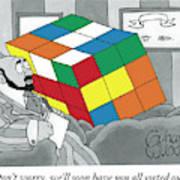 A Rubik's Cube Is Seen In A Psychiatrist's Office Art Print by Gahan Wilson