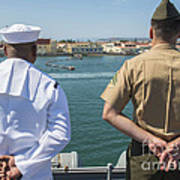 A Sailor And Marine Man The Rails Art Print by Stocktrek Images