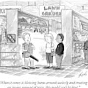 A Salesman Shows A Couple A Leaf Blower Art Print by Tom Toro