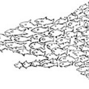 A Shark Is Chased By A School Of Fish That Art Print