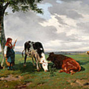 A Shepherdess With A Goat And Two Cows In A Meadow Art Print