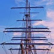 A Tall Ship At Sundown In Baltimore Art Print