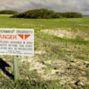 A Sign Warns Of Dangerous Unexploded Art Print