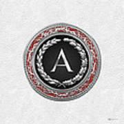 A - Silver Vintage Monogram On White Leather Art Print