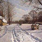 A Sleigh Ride Through A Winter Landscape Art Print by Peder Monsted