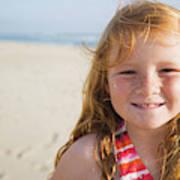 A Smiling Young Girl Enjoys A Sunny Art Print