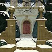 A Snow Covered Pathway Leading To A Mansion Art Print