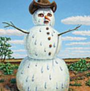 A Snowman In Texas Art Print