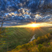 A Spring Sunset On Beauty Mountain In West Virginia. Art Print