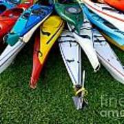 A Stack Of Kayaks Print by Amy Cicconi