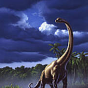 A Startled Brachiosaurus Splashes Art Print