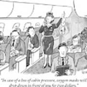 A Stewardess Is Holding Up An Oxygen Mask Art Print
