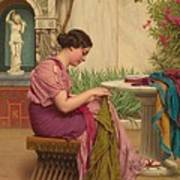 A Stitch Is Free Or A Stitch In Time 1917 Art Print by John William Godward