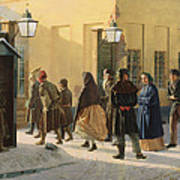A Street Scene, Outside A Prison, 1868 Oil On Canvas Art Print