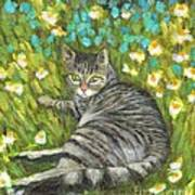 A Striped Cat On Floral Carpet Art Print