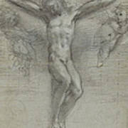 A Study Of Christ On The Cross With Two Art Print