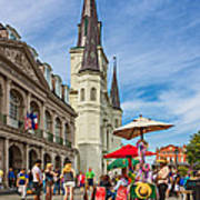 A Sunny Afternoon In Jackson Square Oil Art Print by Steve Harrington
