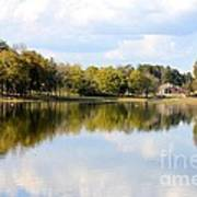 A Sunny Day's Reflections At The Lake House Art Print