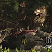 A T-rex Returns To His Kill And Finds Art Print