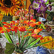 A Table Of Flowers Art Print