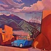 A Teal Truck In Taos Art Print