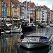 A Tour Boat At Nyhavn Art Print
