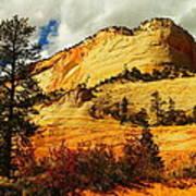 A Tree And Orange Hill Art Print
