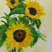 A Trio Of Sunflowers Art Print