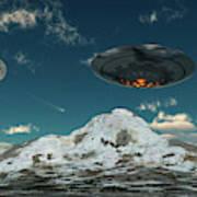 A Ufo Flying Over A Mountain Range Art Print