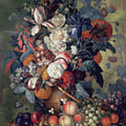 A Vase Of Flowers With Fruit Art Print