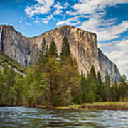 A View Of El Capitan From The Merced River Art Print
