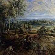 A View Of Het Steen In The Early Morning Print by Peter Paul Rubens