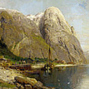 A Village By A Fjord Art Print