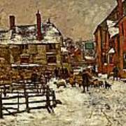 A Village In The Snow Art Print