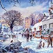 A Village In Winter Art Print