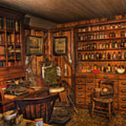 A Visit To The Doctor's Office - Old Time Physician Office - Doctors - Pharmacists - Opticians Art Print by Lee Dos Santos