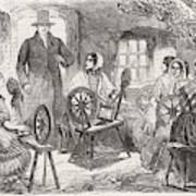 A Visitor Enters An Irish  'cabin' Art Print