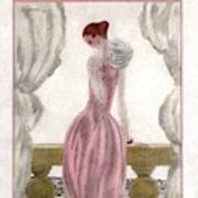 A Vogue Cover Of A Woman Wearing A Pink Dress Art Print