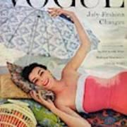 A Vogue Cover Of Anne Gunning Under An Umbrella Art Print